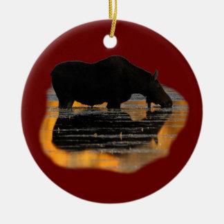 alces y reflexiones adorno navideño redondo de cerámica