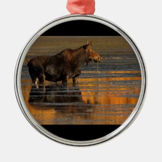 alces y reflexiones adorno navideño redondo de metal