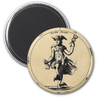 Alchemical Mercury and caduceus 2 Inch Round Magnet