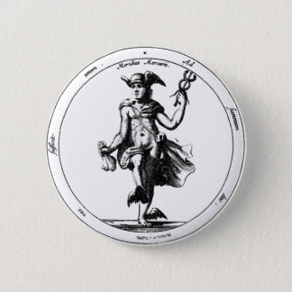 Alchemical Mercury and caduceus Pinback Button