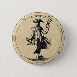 Alchemical Mercury and Caduceus Sepia Button