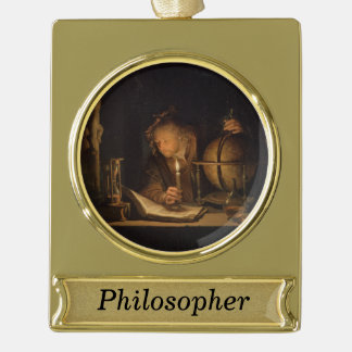 Alchemist Philosopher Reading Personalized Gold Plated Banner Ornament