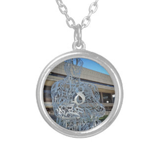 Alchemist Sculpture Round Pendant Necklace