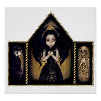 Alchemy Angel Art Print gothic skeleton Triptych