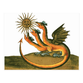 Alchemy Dragon with Moon and Sun Postcard