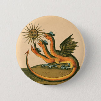 Alchemy Dragons with Three Heads Sepia Button