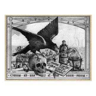 Alchemy Laboratory Raven and Human Skull Postcard