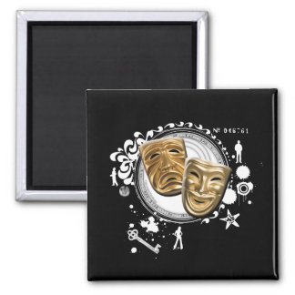 Alchemy of Acting Drama Masks 2 Inch Square Magnet