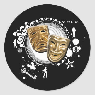Alchemy of Acting Drama Masks Classic Round Sticker