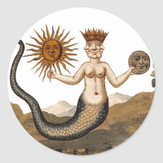 Alchemy picture Medieval Merman w/ 3 faces sticker