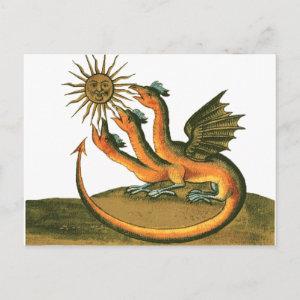 alchemy postcard - golden dragon and sun postcard