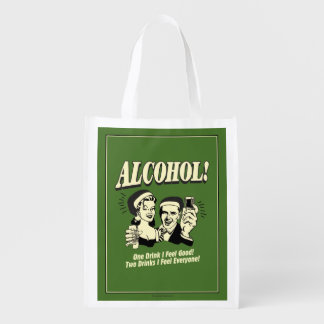 Alchohol: One Drink I feel Good Reusable Grocery Bags