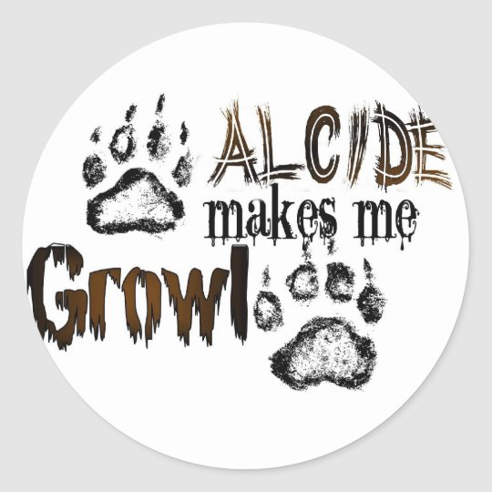 Alcide makes me growl classic round sticker