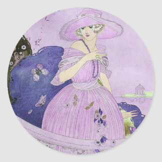 Alcina in Lilac and Purple Round Stickers