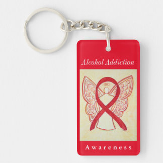 Alcohol Addiction Awareness Angel Ribbon Keychain
