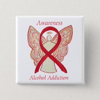 Alcohol Addiction Awareness Red Ribbon Angel Pin