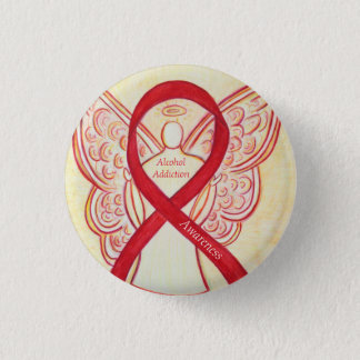 Alcohol Addiction Awareness Red Ribbon Angel Pins