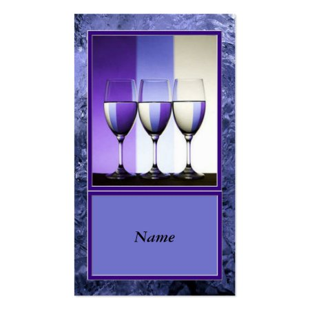 Artistic Blue Border Wine Glasses Wine Bar Business Cards