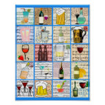 Alcohol Booze Mixed Drinks Party Art Collage Poster