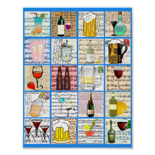 Alcohol Booze Mixed Drinks Party Art Collage