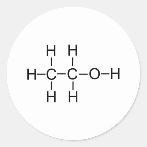 Serotonin molecule chemical structure round sticker