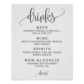 Alcohol Cocktail Drinks Bar Editable Wedding Sign