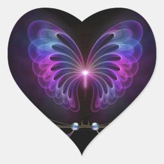 Alcohol de la mariposa pegatina en forma de corazón