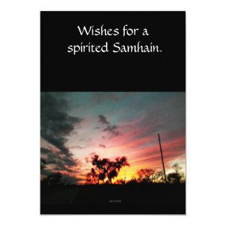"""Alcohol de la sola página de Samhain. Saludo Invitación 5"""" X 7"""""""