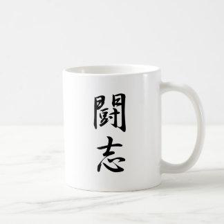 Alcohol de lucha - kanji taza básica blanca