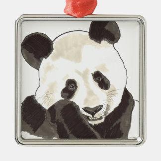 Alcohol de Shamanic de la panda Adorno Cuadrado Plateado