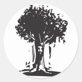 Alcohol del árbol de la cara pegatinas redondas