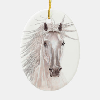 Alcohol del caballo del viento - vendimia adorno navideño ovalado de cerámica