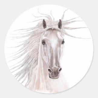 Alcohol del caballo del viento - vendimia pegatina redonda