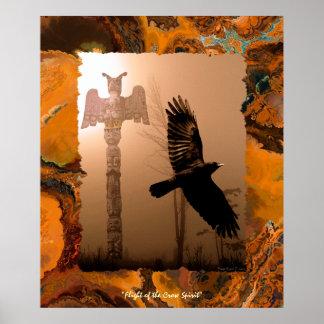 Alcohol del cuervo del vuelo y poster del arte del