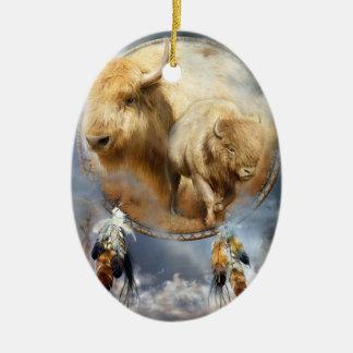 Alcohol del ornamento blanco del arte del búfalo adorno ovalado de cerámica