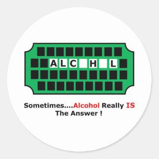 alcohol full classic round sticker