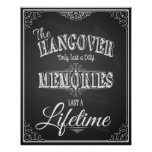 Alcohol HANGOVER bar sign perfect wedding sign Poster