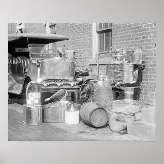 Alcohol ilegal confiscado aún, 1922 póster