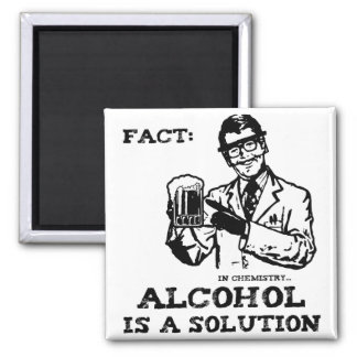 Alcohol is a Solution in Chemistry Retro 2 Inch Square Magnet