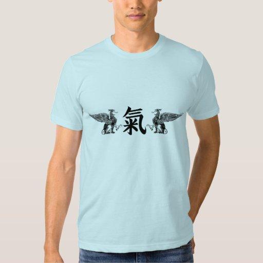 Alcohol, mente, kanji de la fuerza con el grifo polera