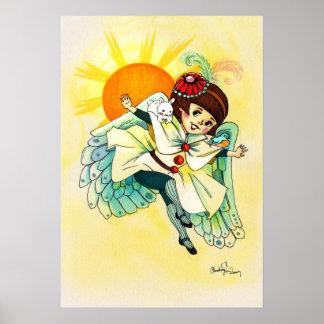 Alcohol menudo del ángel con el conejito y el pája póster
