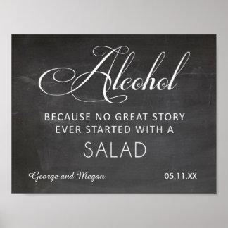 Alcohol - muestra divertida de la pizarra del boda póster