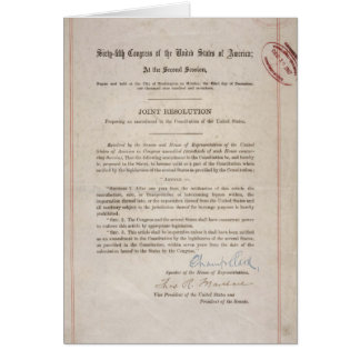 Alcohol Prohibition 18th Amendment Card
