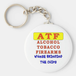 ALCOHOL TOBACCO FIREARMS BASIC ROUND BUTTON KEYCHAIN