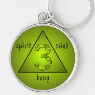 Alcohol verde del cuerpo de la mente del triángulo llavero redondo plateado