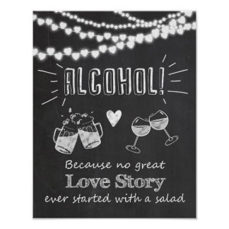 Alcohol wedding chalkboard sign great love story