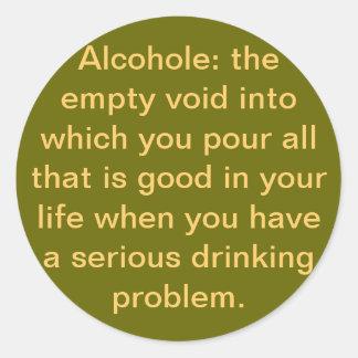 alcohole pegatina redonda