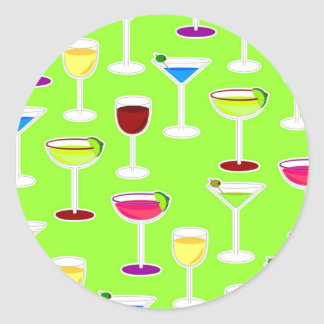 Alcoholic Beverages Cocktail Party Print - Green Classic Round Sticker