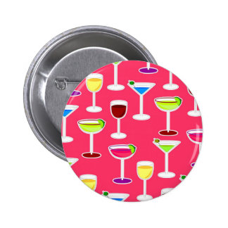Alcoholic Beverages Cocktail Party Print - Pink Pinback Button
