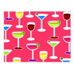 Alcoholic Beverages Cocktail Party Print - Pink Postcard